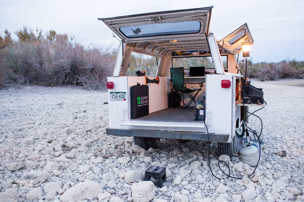 Cabinet below is the perfect camp kitchen it stow our stove grill