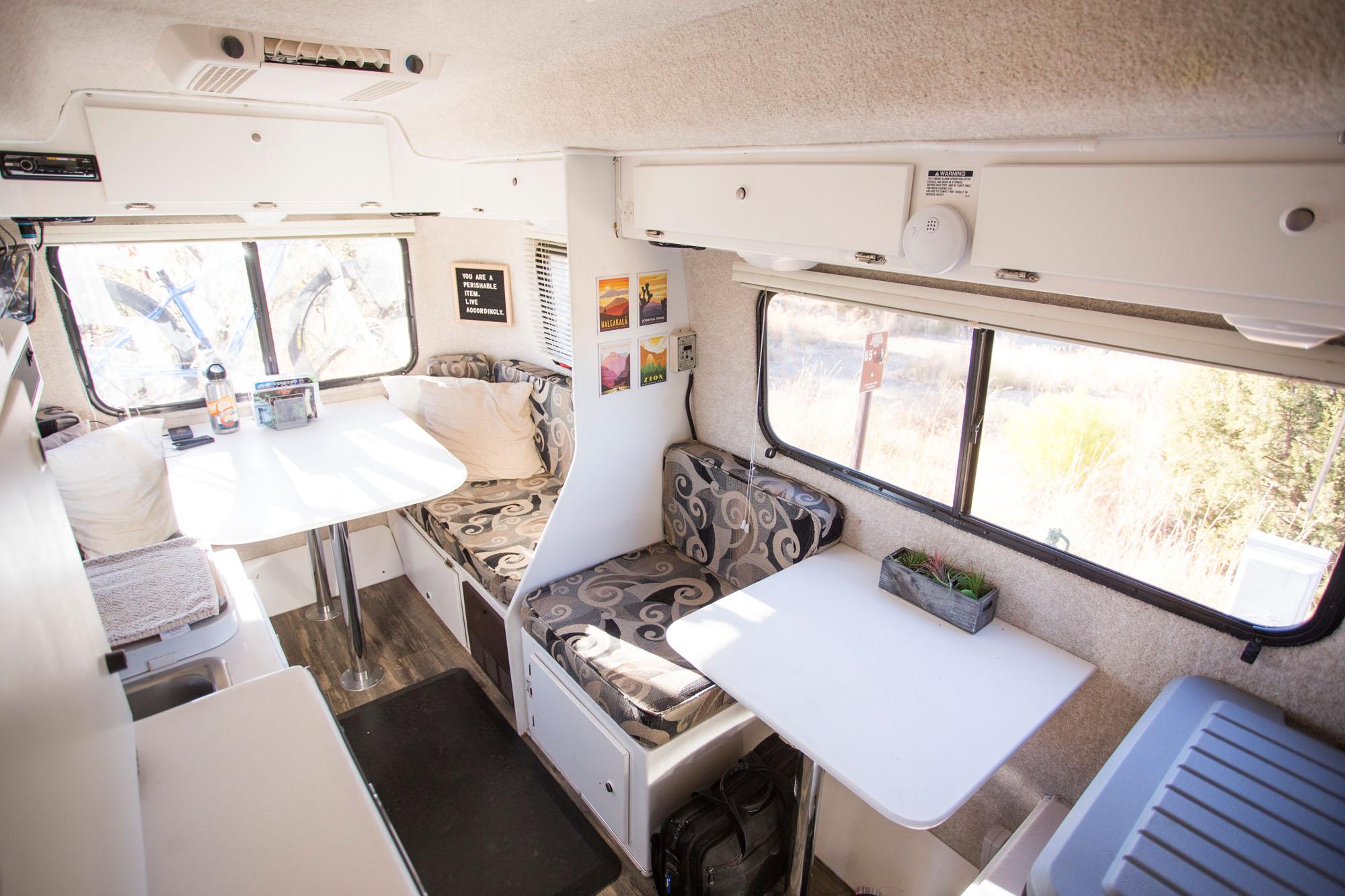photo inside of casita fiberglass travel trailer
